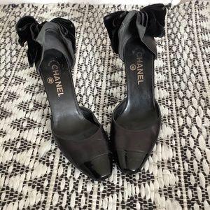 Chanel Black Bow Heels Size 6.5